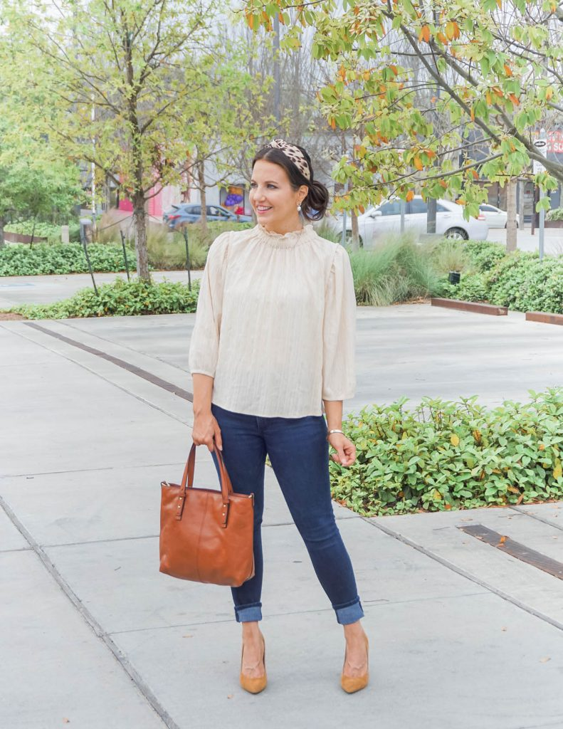 spring outfit | ivory ruffle neck top | cuffed skinny jeans | Casual Fashion Blog Lady in Violet