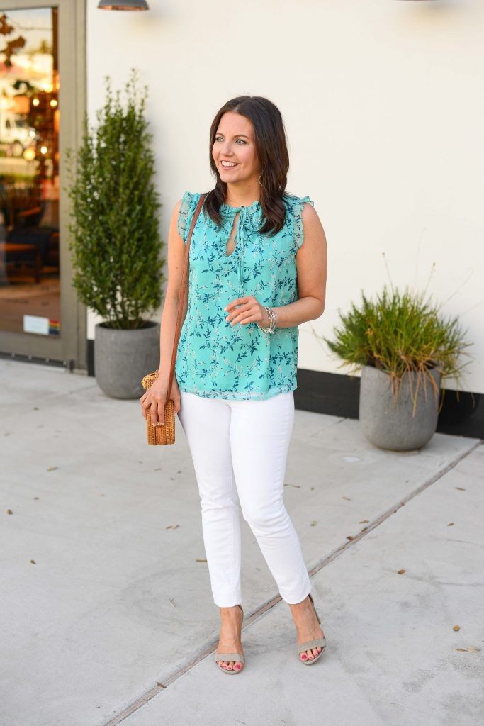 casual summer outfit | blue floral top with white skinny jeans | Southern Style Blog Lady in Violet