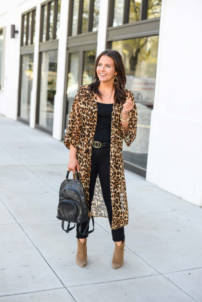 fall outfit | leopard kimono | black leather backpack purse | Casual Fashion Blog Lady in Violet
