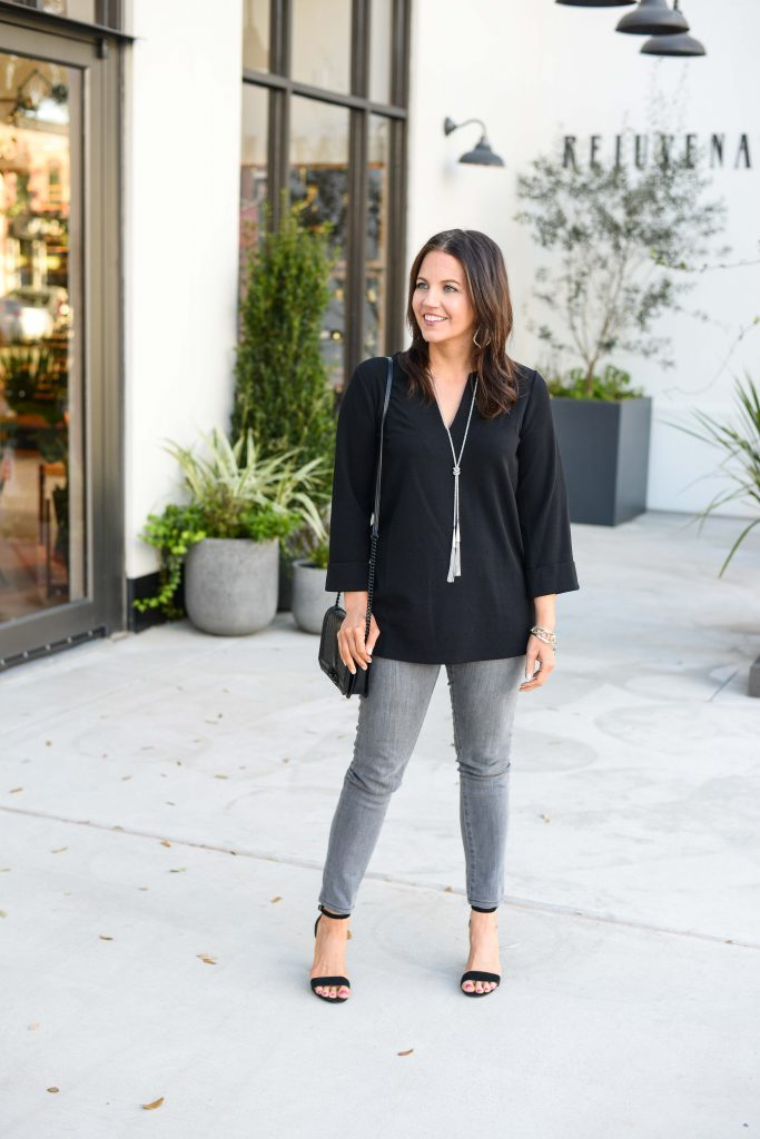 petite outfits | long black top with gray jeans | Texas Fashion Blog Lady in Violet