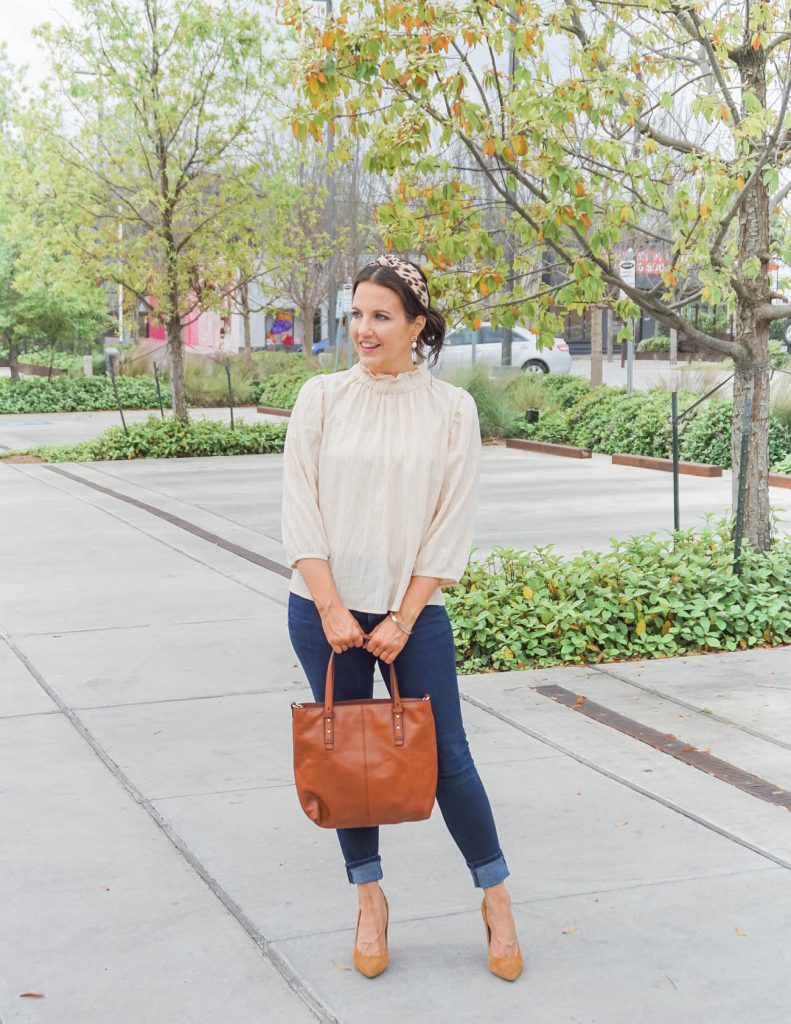 spring brunch outfit | ivory flowy blouse | tan suede heels | Texas Fashion Blog Lady in Violet