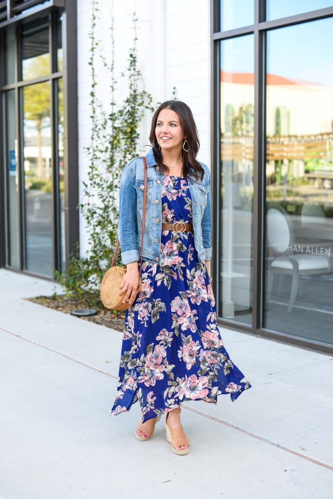 spring fashion | belted floral maxi dress with wedges | Texas Fashion Blog Lady in Violet