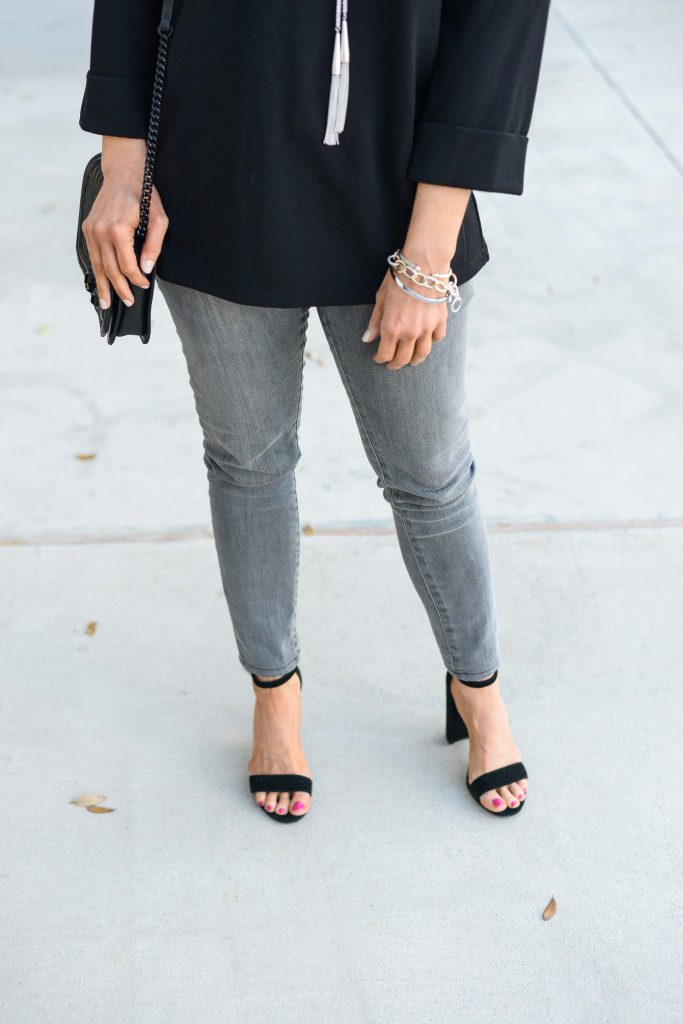 casual fall outfit | gray skinny jeans | black heeled sandals | Houston Fashion Blog Lady in Violet