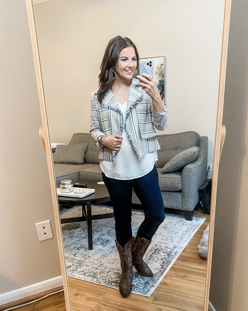 rodeo outfit | striped jacket | cowboy boots | Houston Fashion Blog Lady in Violet