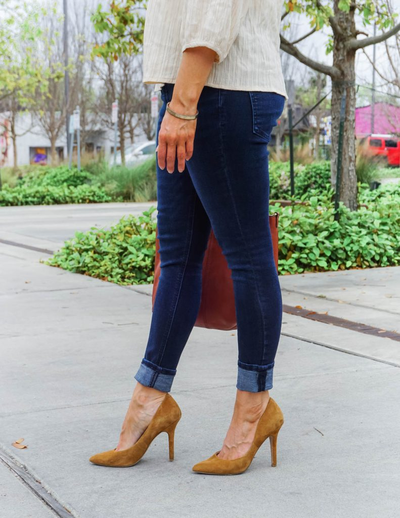 date night outfit | cuffed blue jeans | brown suede heels | Popular Fashion Blog Lady in Violet