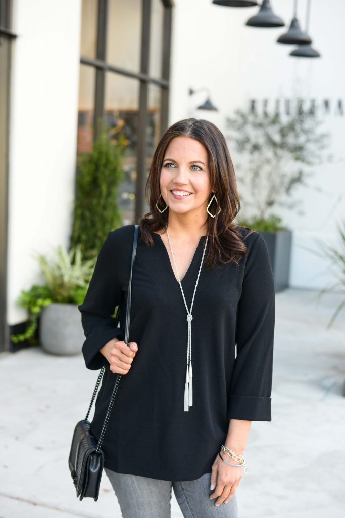 spring outfit | black vneck top| how to wear a long silver rope necklace | Popular Fashion Blog Lady in Violet