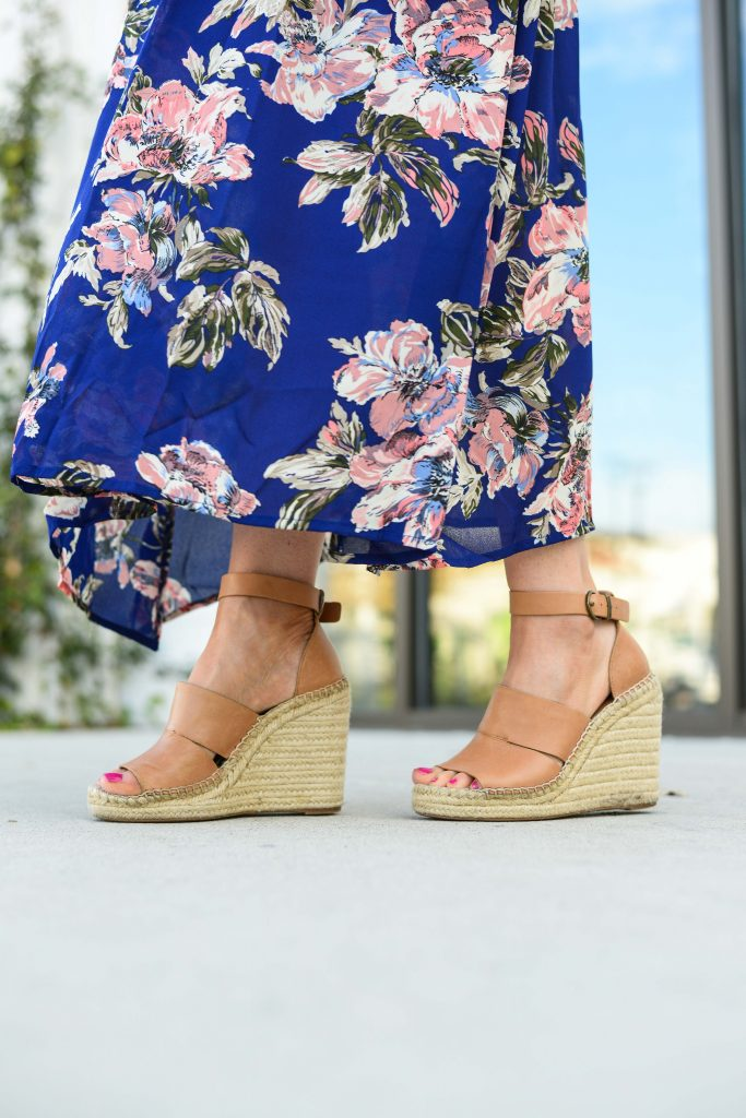 summer outfit | brown espadrille wedge sandals | blue floral maxi dress | Budget Friendly Fashion Blog Lady in Violet