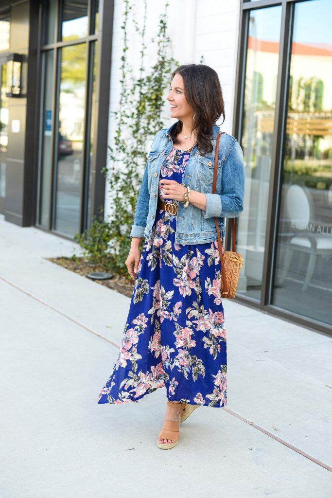 casual outfit | how to style a maxi dress for spring | Popular fashion blog Lady in Violet