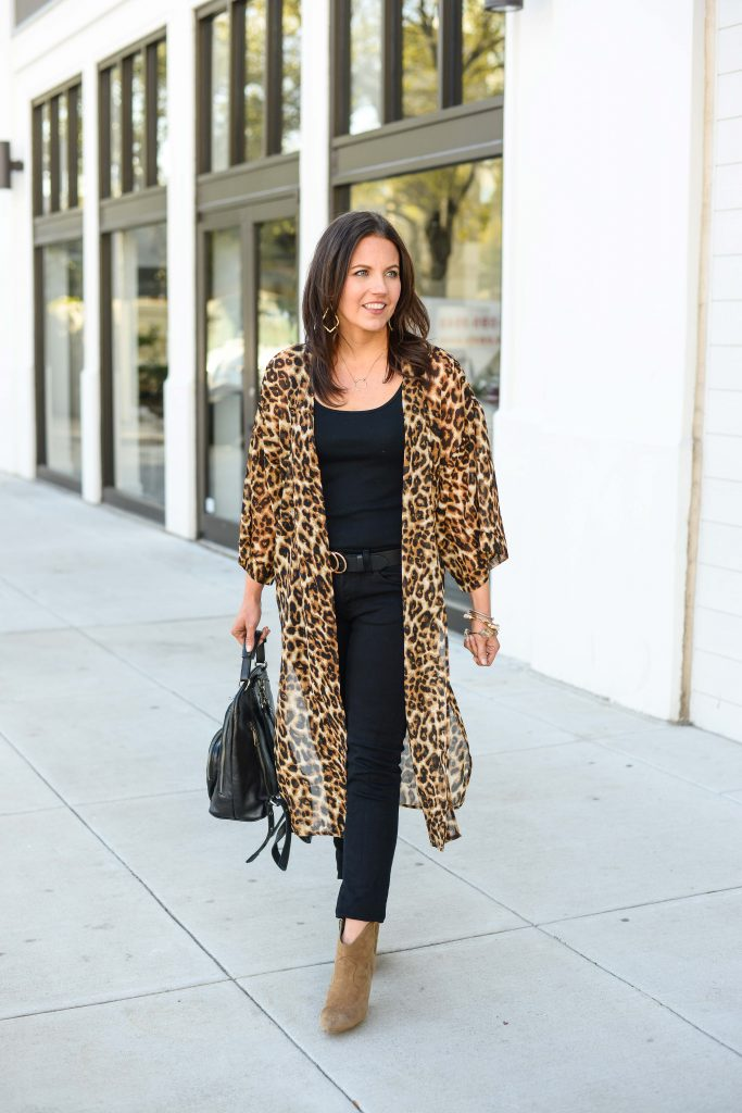 petite outfit with leopard print kimono and black jeans | Daily Style Blog Lady in Violet