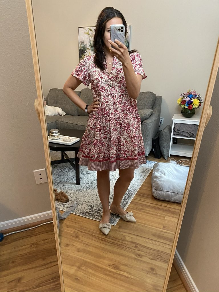 spring outfit | pink floral print dress with bow front flat shoes | Southern Fashion Blog Lady in Violet