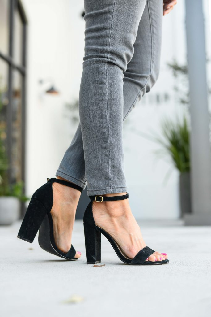 spring outfit | steve madden block heel sandals with gray denim | Daily Style Blog Lady in Violet