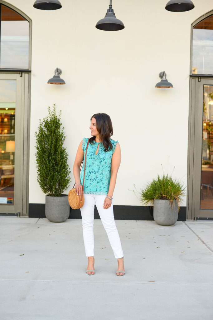 summer outfit | teal floral print blouse | taupe block heel sandals | Casual Fashion Blog Lady in Violet