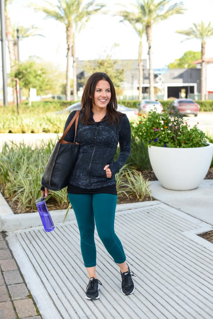 cute workout clothes for cardio class | lululemon leggings | Popular Lifestyle Blog Lady in Violet