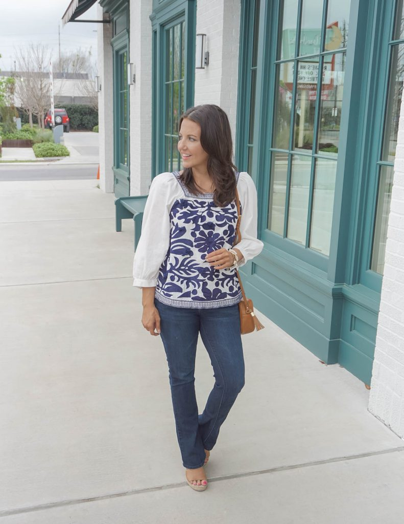 spring outfit | blue embroidered blouse | bootcut jeans | Affordable Fashion Blog Lady in Violet