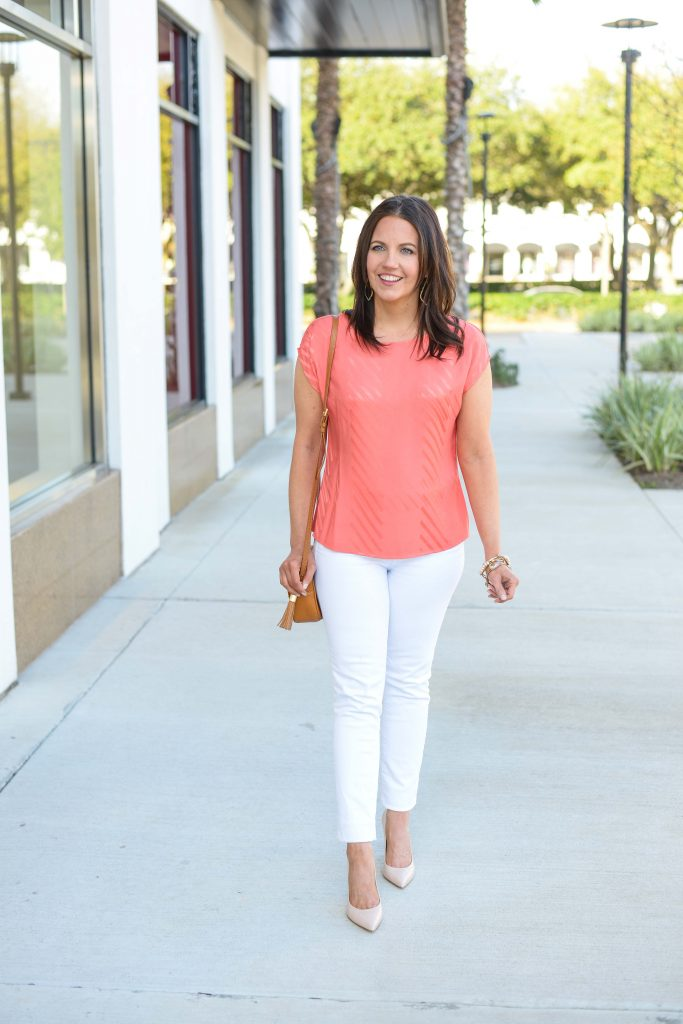 spring outfit | coral blouse with white jeans | Affordable Fashion Blog Lady in Violet