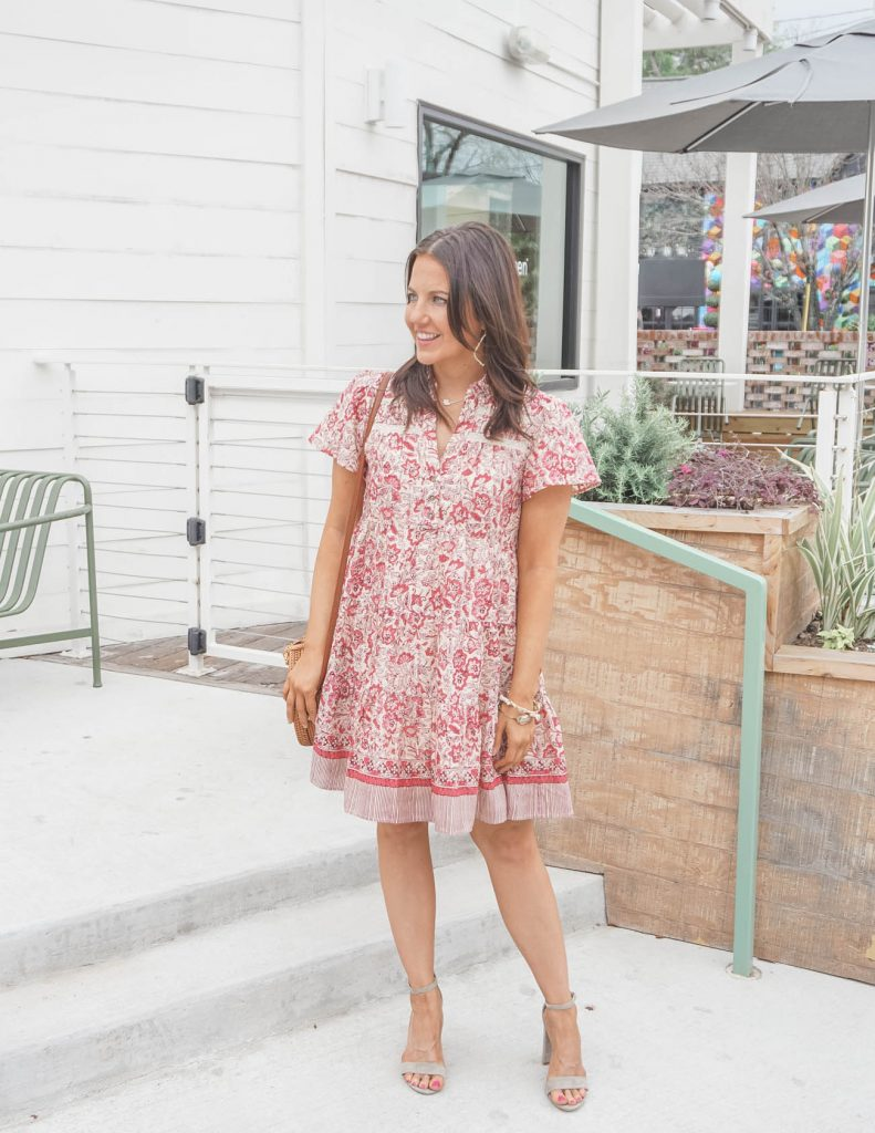 spring outfit | pink floral dress | nude colored sandals | Affordable Fashion Blog Lady in Violet