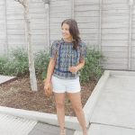 Navy Floral Top + White Shorts