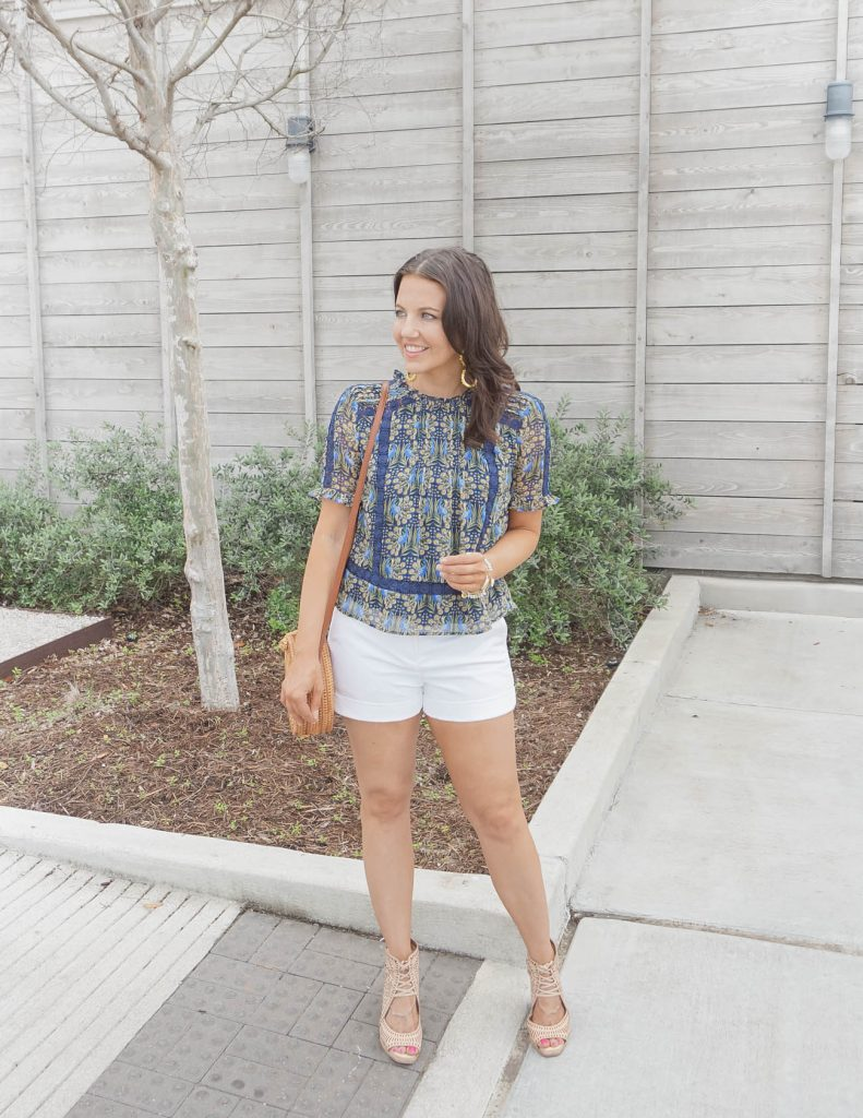 spring outfits | navy floral top with white cuffed shorts | Affordable Fashion Blog Lady in Violet