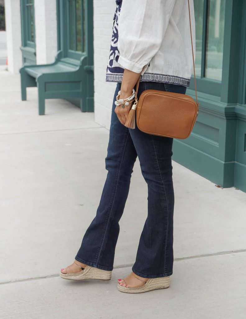 casual spring outfit | dark wash bootcut jeans | brown espadrille wedges | Petite Fashion Blog Lady in Violet