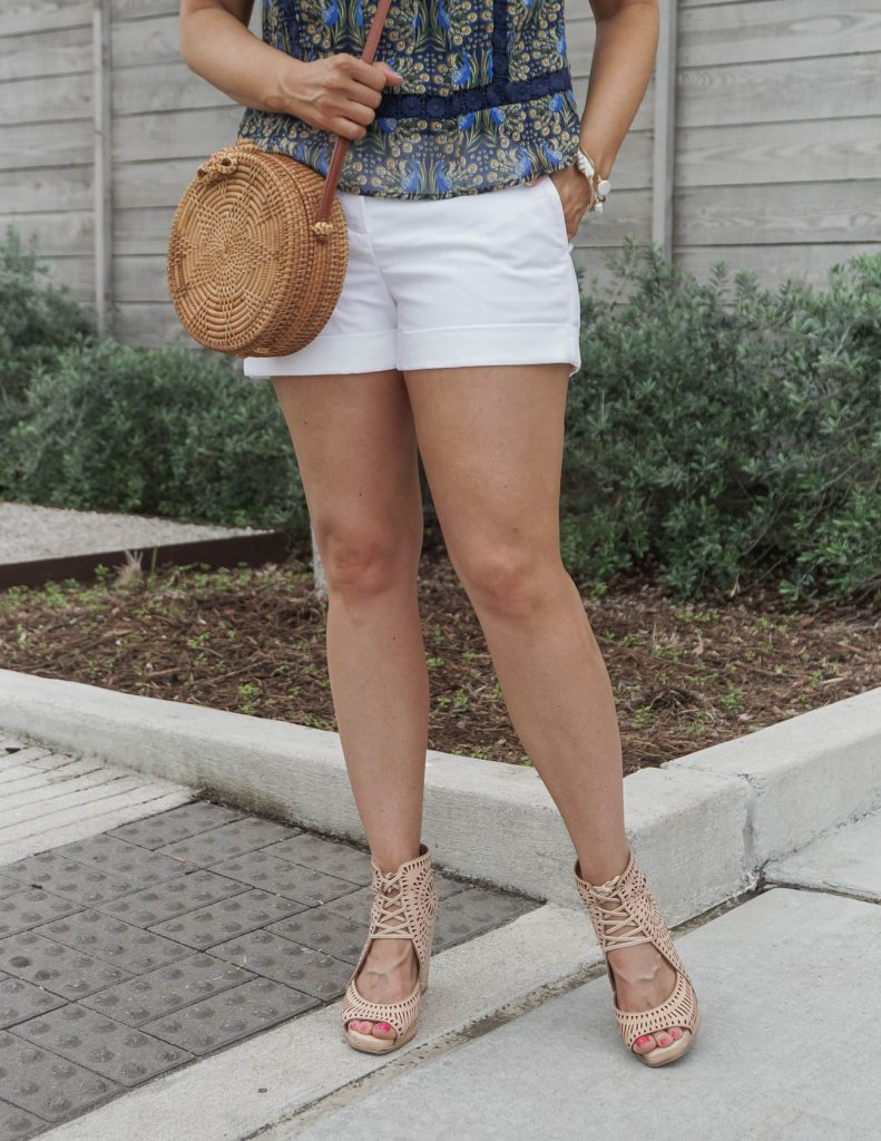 casual summer outfit | white cotton shorts with laser cut wedges | Everyday Fashion Blog Lady in Violet
