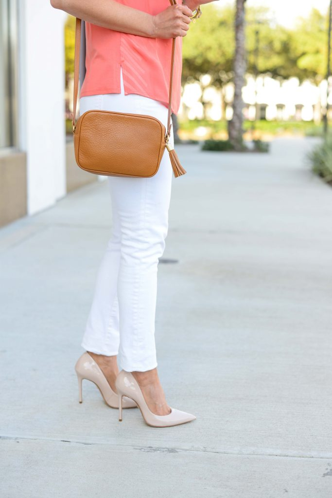 spring outfit | nude colored heels with white denim | Everyday Fashion Blog Lady in Violet