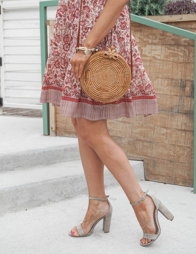 spring outfit | straw circle purse | taupe block heel sandals | Southern Style Blog Lady in Violet