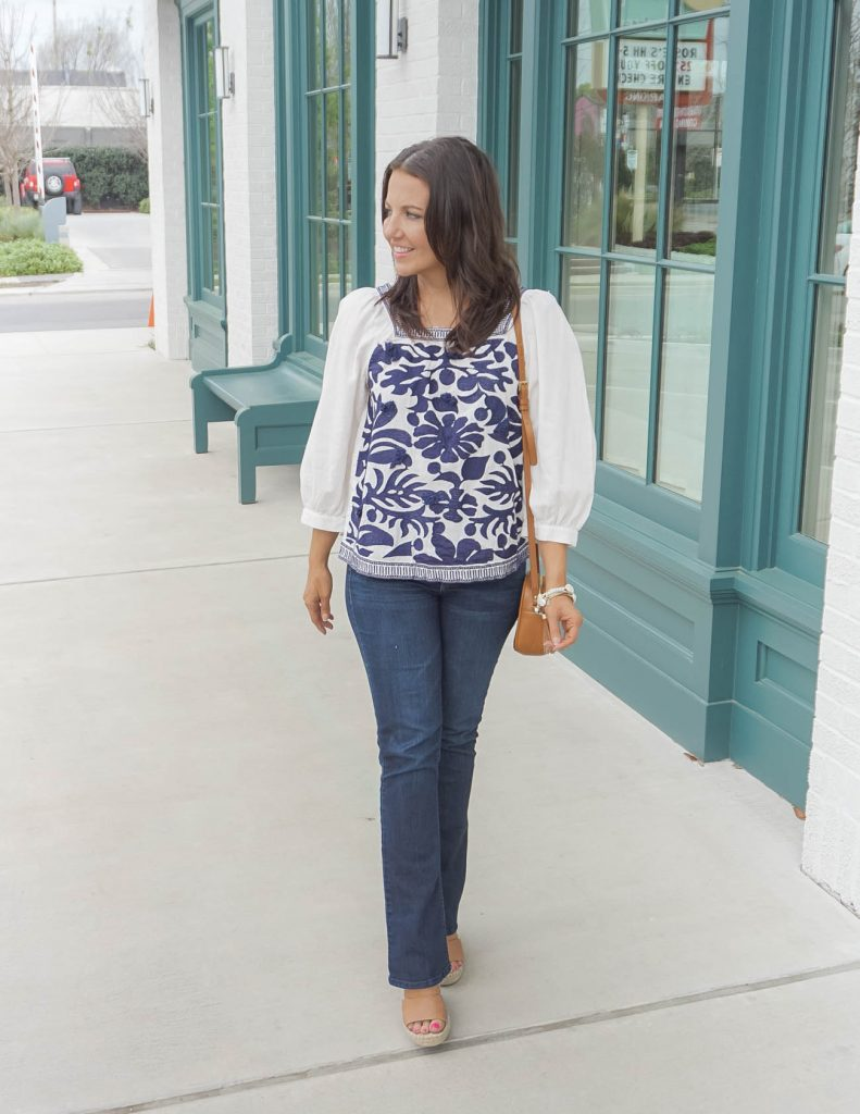 Casual Outfits | Blue and white embroidered blouse | dark blue flared jeans | Everyday Style Blog Lady in Violet