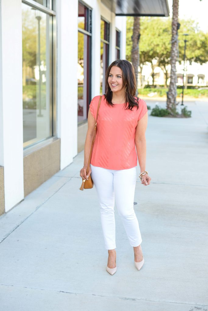spring outfit | coral short sleeve top with white skinny jeans | Petite Fashion Blog Lady in Violet