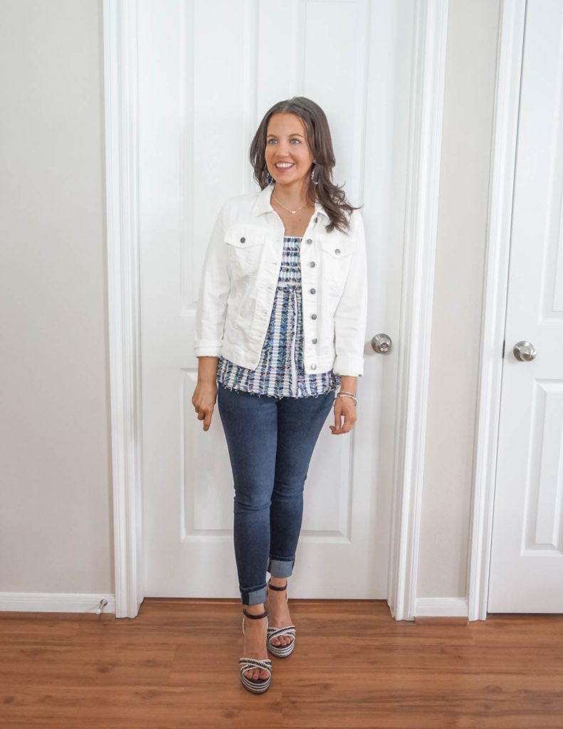 spring outfit | white denim jacket with cuffed jeans | Petite Fashion Blog Lady in Violet