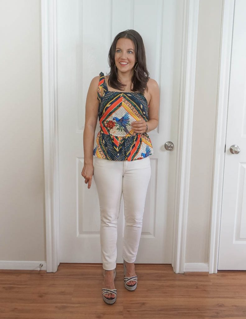 summer outfit | tie strap top with white jeans | Attainable Style Blog Lady in Violet