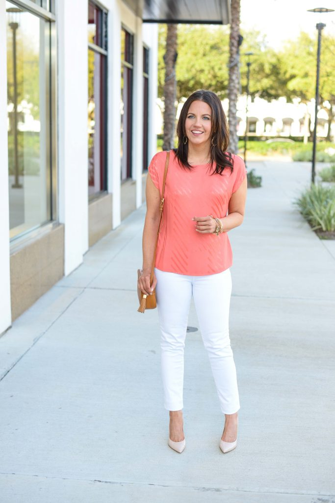 casual easter outfit | coral striped blouse | white jeans | Texas Fashion Blog Lady in Violet