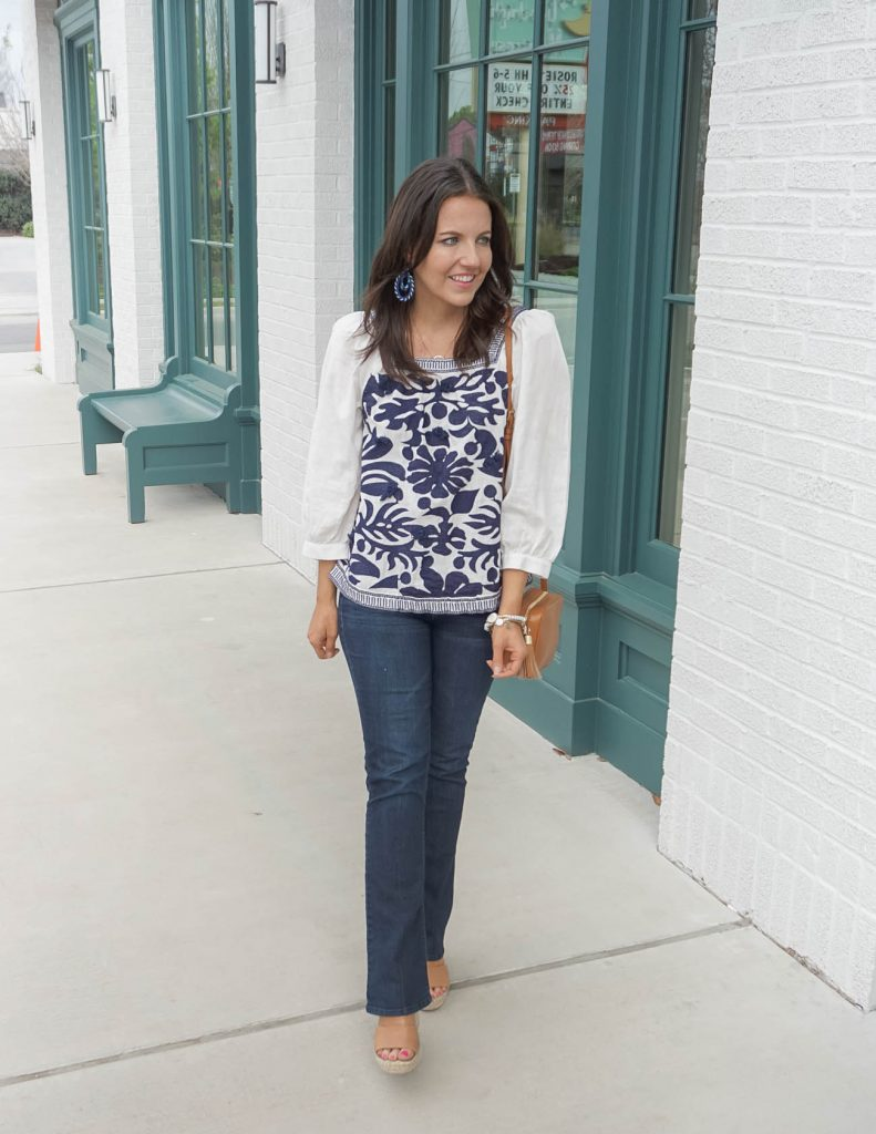 casual fall outfit | navy embroidered top with dark wash flare jeans | Texas Fashion Blogger Lady in Violet
