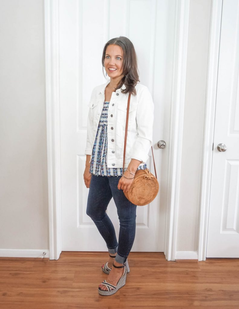 how to style a casual spring outfit | straw circle bag | Everyday Fashion Blog Lady in Violet
