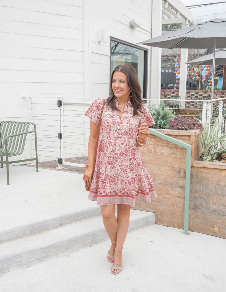 shower outfit idea | pink floral short sleeve shirtdress | nude colored heels | Texas Fashion Blog Lady in Violet