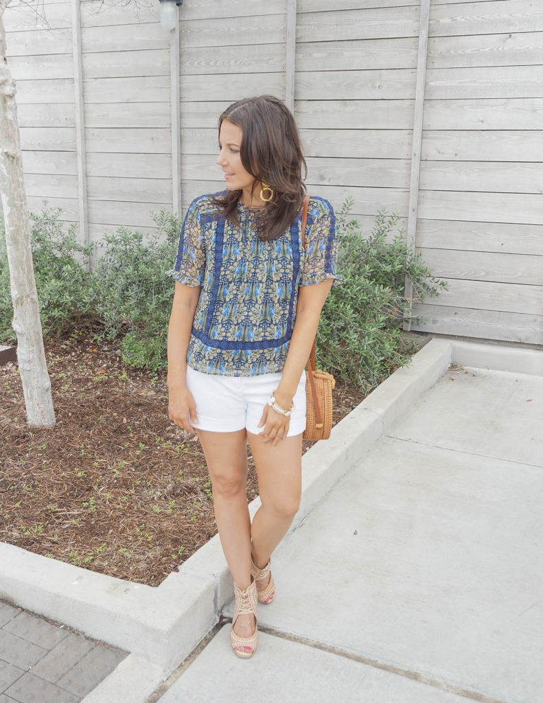 spring outfit | navy blue floral print top with white dress shorts | Casual Fashion Blog Lady in Violet
