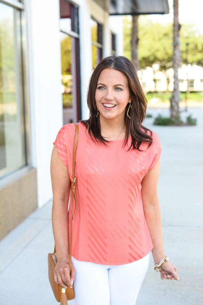 casual outfit | pink striped top with gold earrings | Affordable Fashion Blog Lady in Violet