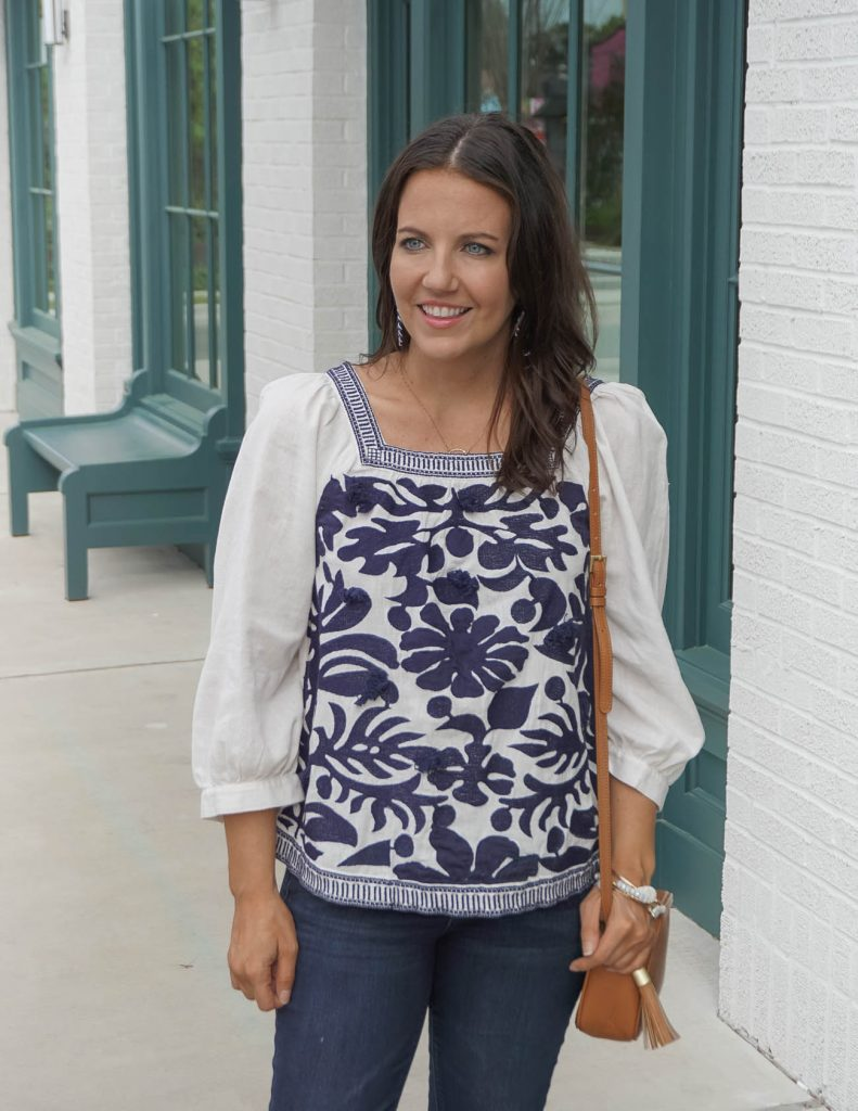 spring outfit | navy blue and white embroidered top | brown small purse | Affordable Fashion Blog Lady in Violet