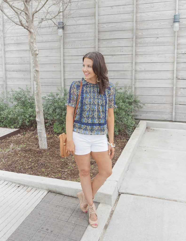 summer outfit   blue floral printed top paired with cute white shorts   Affordable Fashion Blogger Lady in Violet