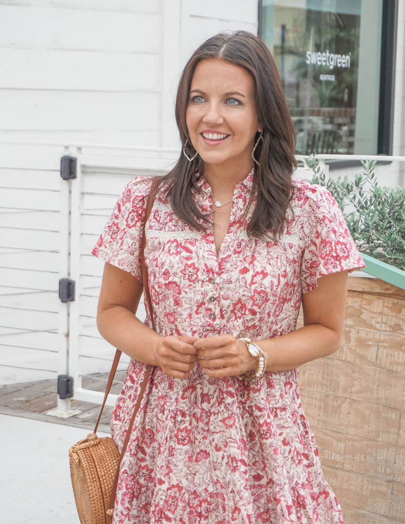 summer outfit | dark pink floral pint dress | gold stone bangles | Houston Fashion Blog Lady in Violet
