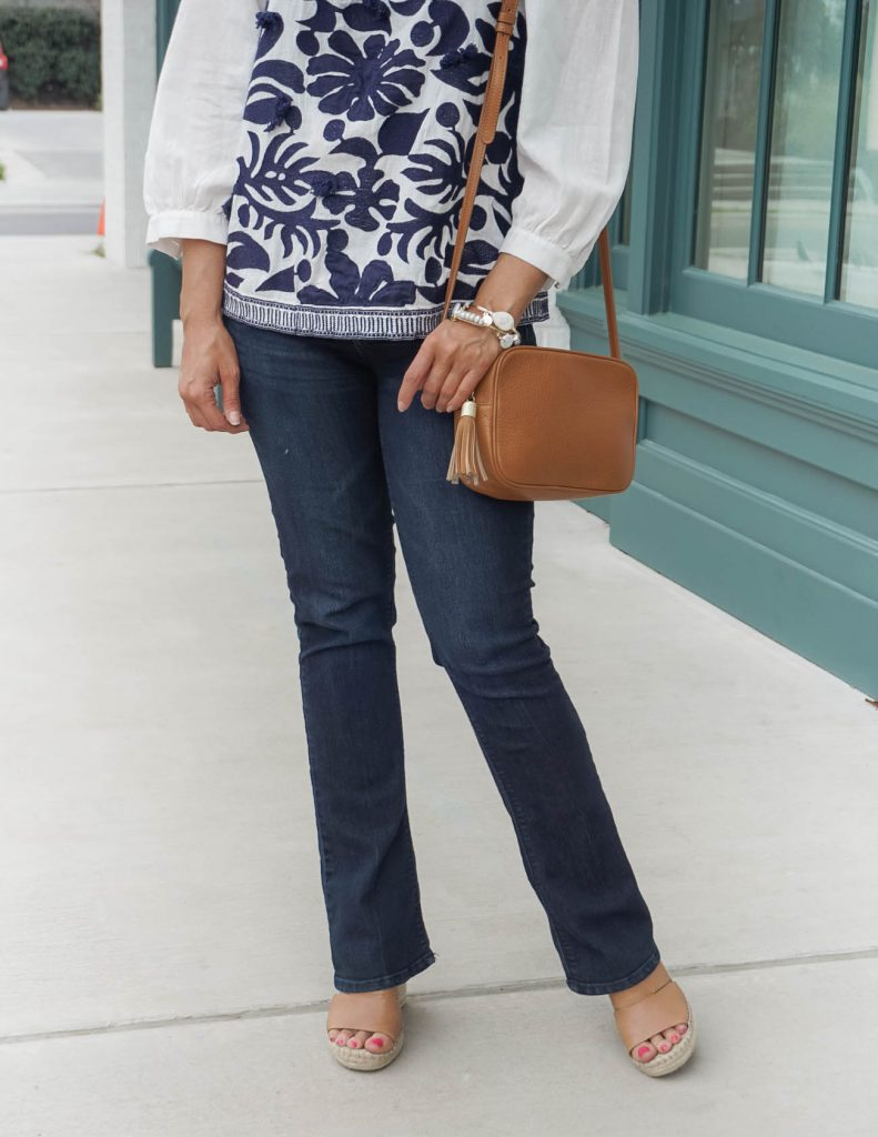 casual outfit | dark blue denim | brown wedge sandals | Sophisticated Style Blog Lady in Violet