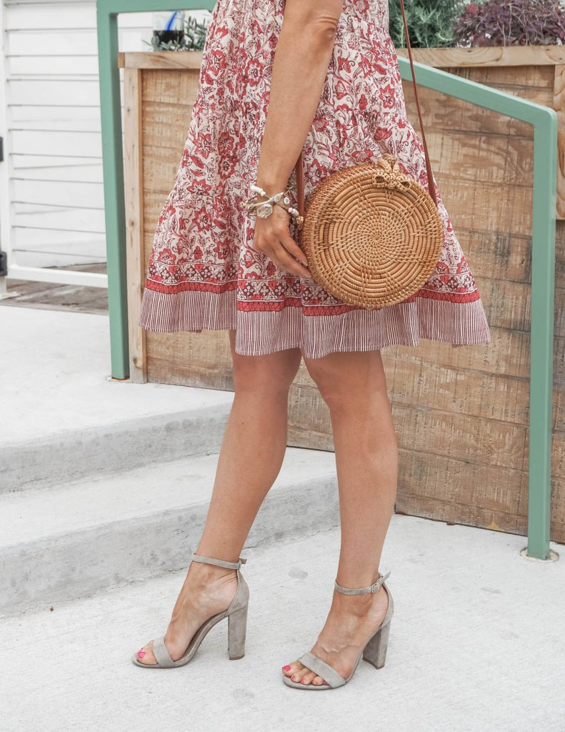 spring outfits | straw crossbody bag suede | block heel sandals | 30+ Fashion Blog Lady in Violet