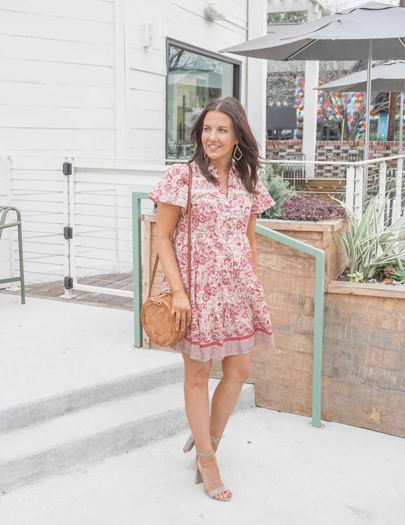 casual wedding outfit | pink floral shirtdress | light colored heeled sandals | Popular Fashion blog Lady in Violet