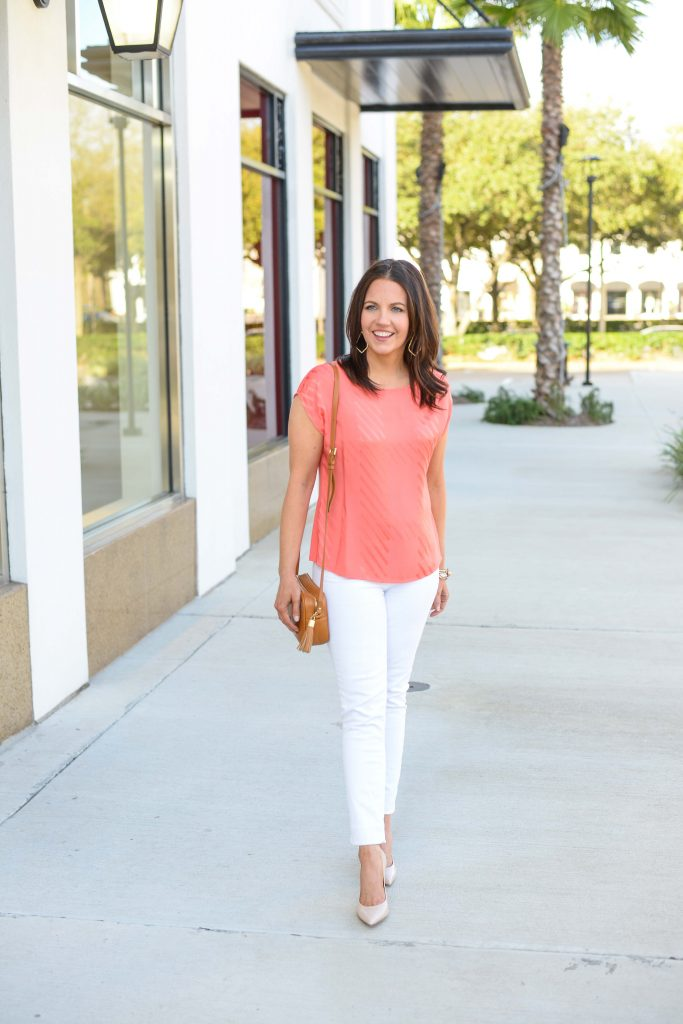 spring outfit | coral sleeveless top with white denim | Casual Fashion Blog Lady in Violet