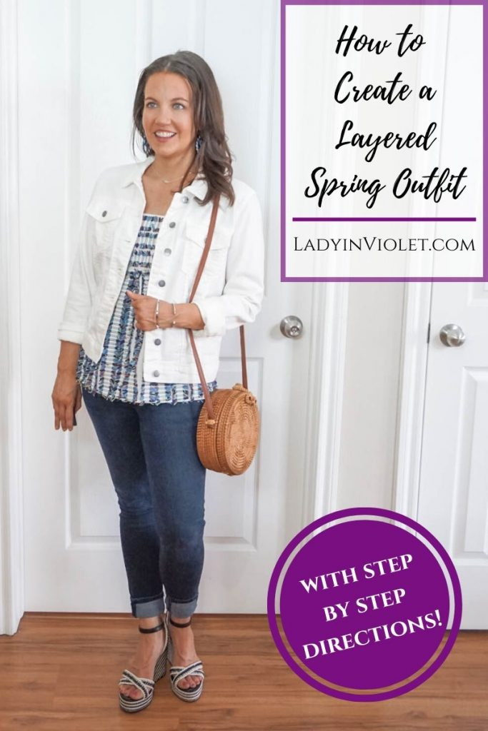 how to create a layered spring outfit | white denim jacket over babydoll cami top | Favorite Fashion Blogger Lady in Violet