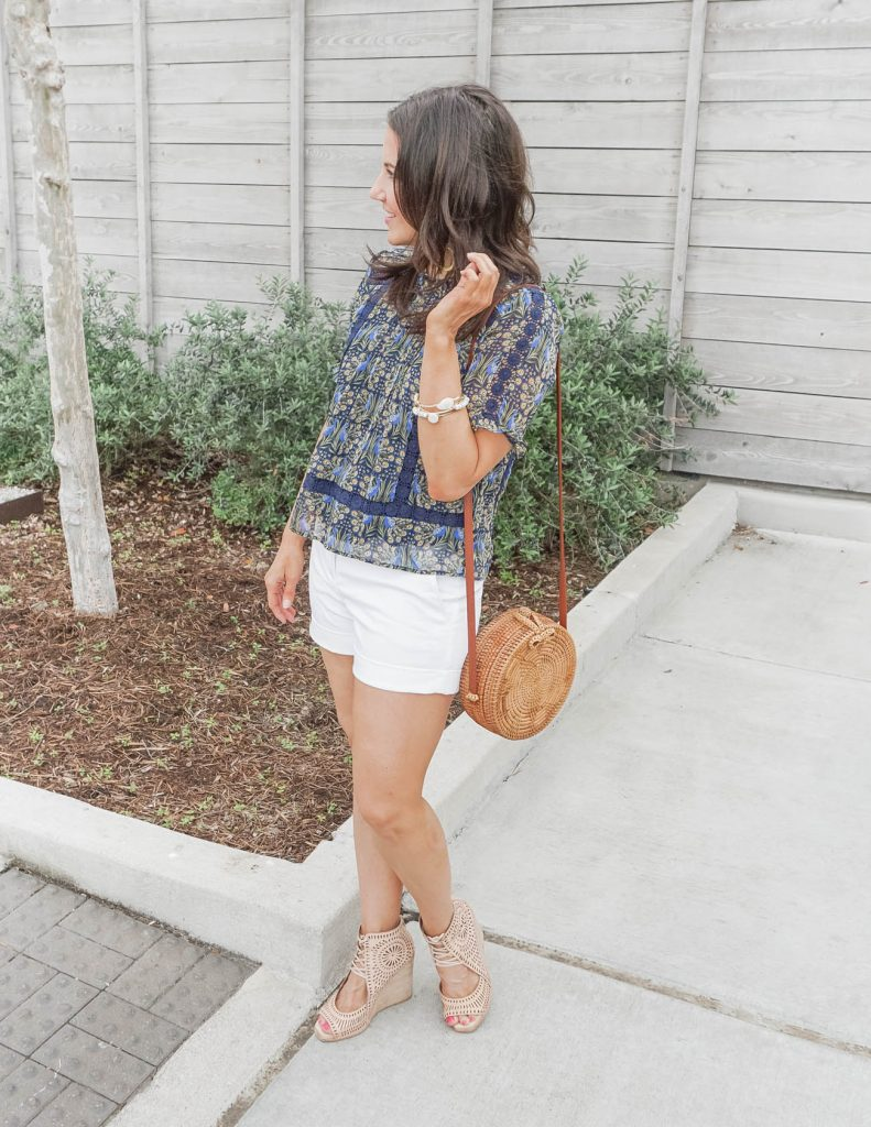 casual outfits | navy short sleeve top with white dress shorts | Popular Fashion Blogs Lady in Violet
