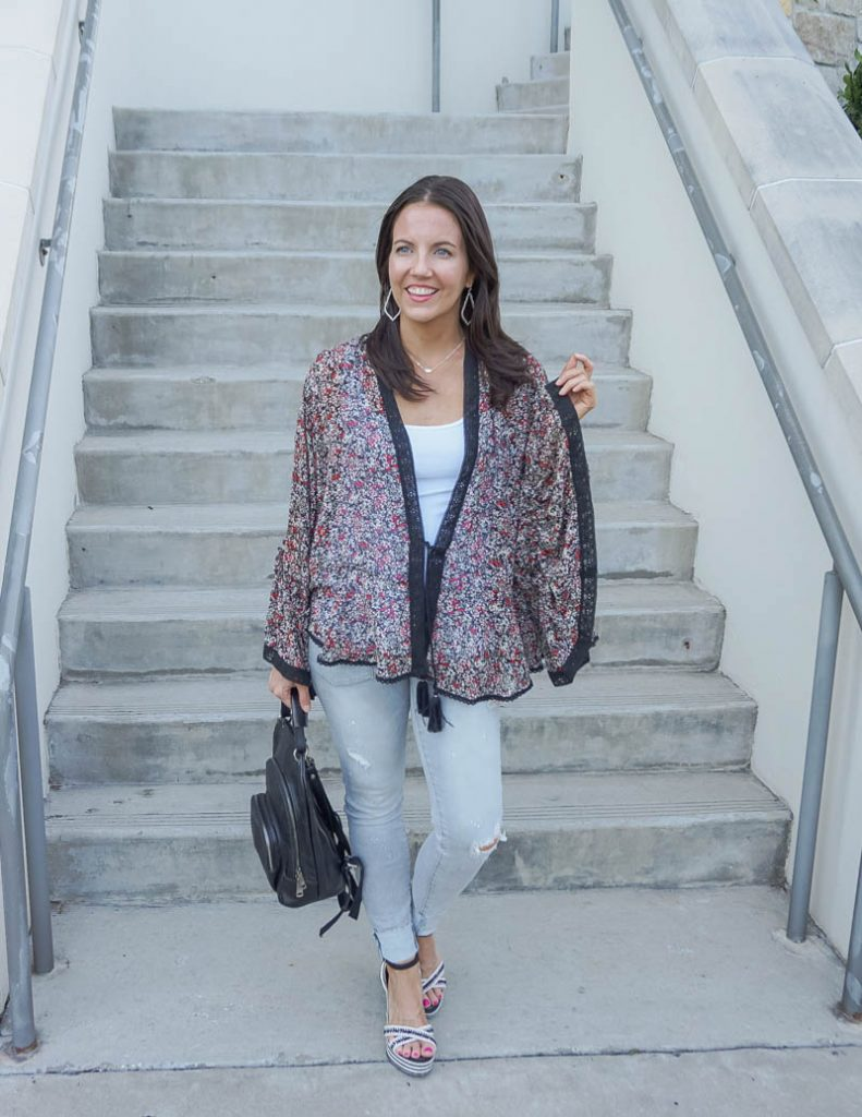 spring outfit | black floral print kimono with gray distressed jeans | Affordable Fashion Blog Lady in Violet