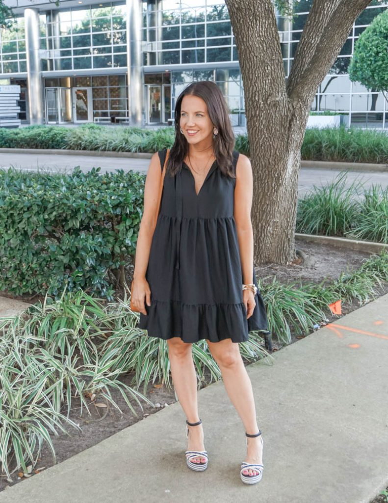 summer outfit | black tiered dress with espadrille wedges | Affordable Fashion Blog Lady in Violet