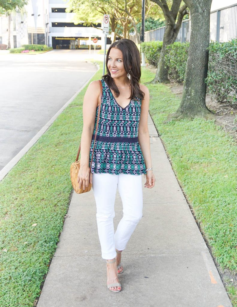 summer outfit | navy embroidered top with white jeans | Affordable Fashion Blog Lady in violet