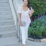Pink Babydoll Top + White Jeans