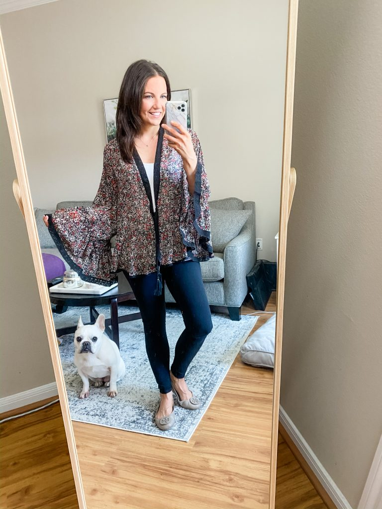 at home outfit | floral print kimono with black leggings | Houston Fashion Blog Lady in Violet